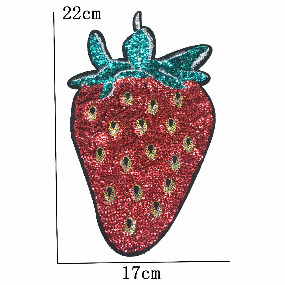 Sequins Patch Iron on Strawberry Embroideried Applique Big Motif Sewing Stickers Fabric Cloth Patches DIY Decoration Patch Large