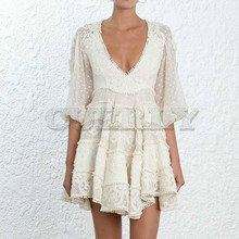 Cuerly New Runway self portrait Dresses Spring Summer Women High Quality Bohemian V-neck Lace Mesh Embroidery Dot Dress vestidos