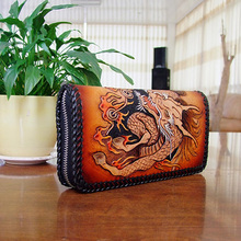 OLG.YAT handmade men wallets Italian Vegetable tanned leather men wallet mens handbag Hand-woven Kirin purse retro long genuine