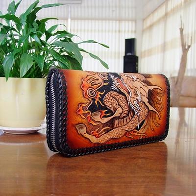 OLG.YAT handmade men wallets Italian Vegetable tanned leather men wallet mens handbag Hand-woven Kirin purse retro long genuine