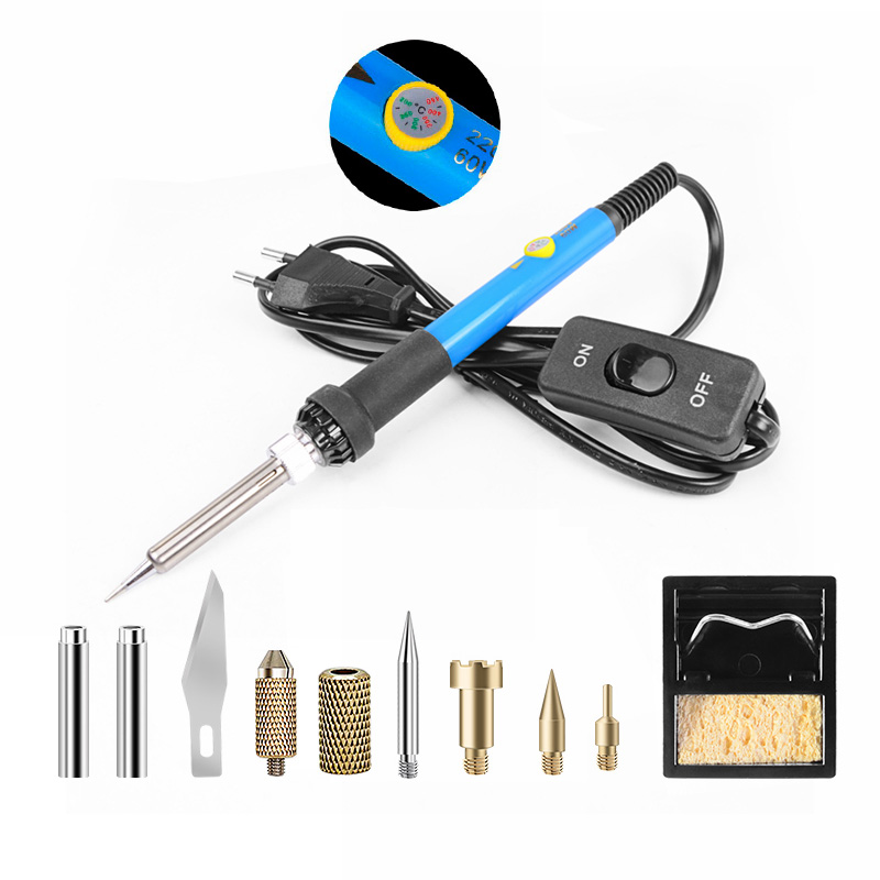 60W Electric Soldering Iron Pyrography Tool Welding Tips Kit Wood Burning Pen Set With Stand