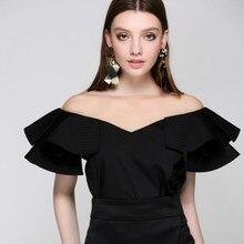Подиумные женские блузки сексуальные поддельные с открытыми плечами Лоскутные кружевные с круглым вырезом и оборками дизайнерские летние женские белые блузки черные топы