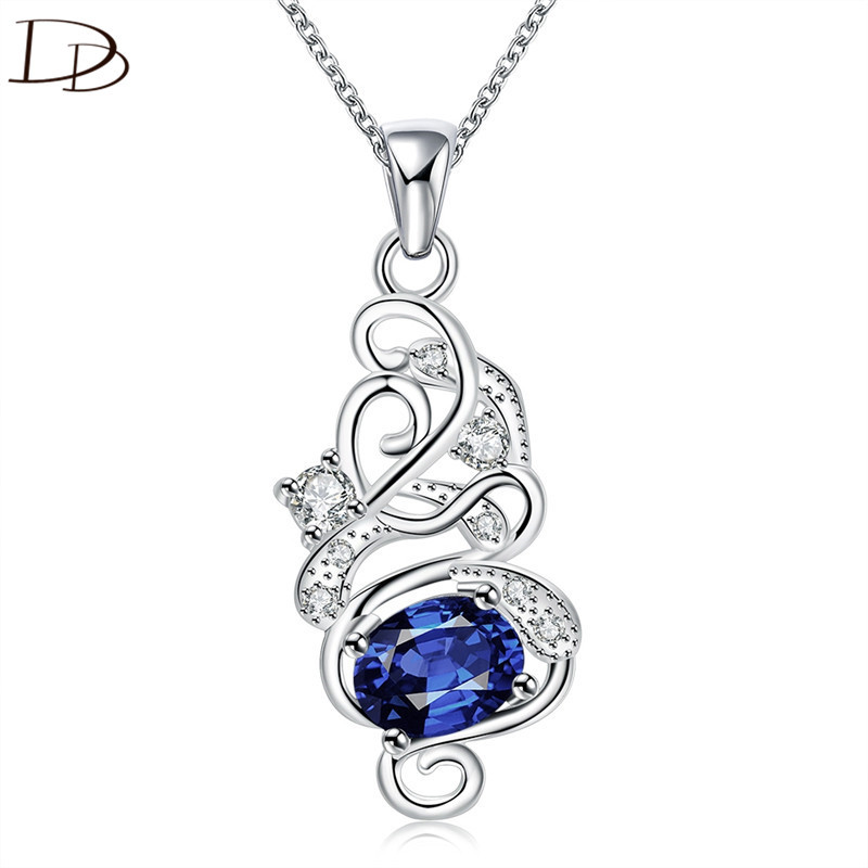DODO Clearance Sale, Blue Austrian Crystal Necklaces For Women Silver Color Link Chain Fashion Jewelry Accessories AG121/154