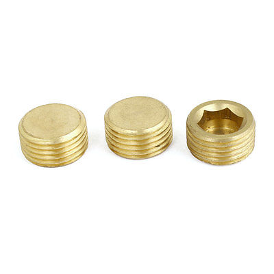 3pcs Brass Internal Hex Head Socket 1/2 PT Thread Pipe Plug Fitting 6 pcs air pipe fittings 1 4pt male thread hex socket brass plugs caps