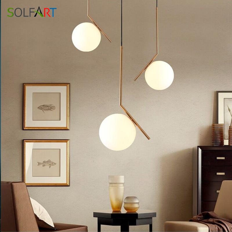Lampes suspendues lampe de Bar ronde pendentif lumière sphère luminaires forme de lune lampe de Bar en verre lampes de Foyer