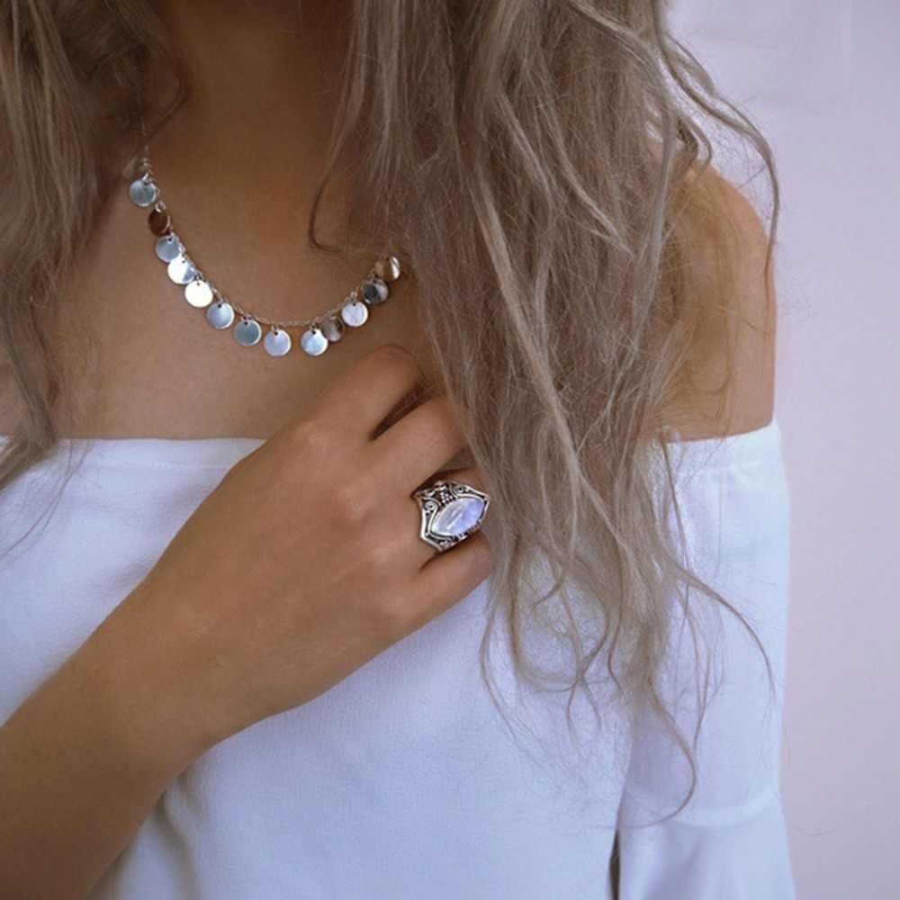 CiNily натуральный лунный камень серебряное кольцо готический перстень полумесяц черные кольца этническое племя винтажные богемные вечерние ювелирные изделия для мужчин и женщин