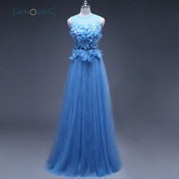 Elegant Real Photo Blue Chiffon Lace Evening Dresses Formal Celebrity Gowns abendkleider Flowers robe de soiree ASAE43