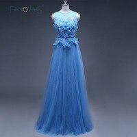 Elegant Real Photo Blue Chiffon Lace Evening Dresses Formal Celebrity Gowns Abendkleider Flowers Robe De Soiree