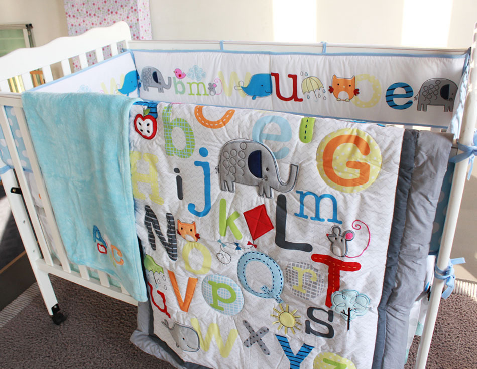 8 piece cotton baby crib bedding set ,quality letter newborn baby boy girl bedding ,bedroom nursery cot bedding