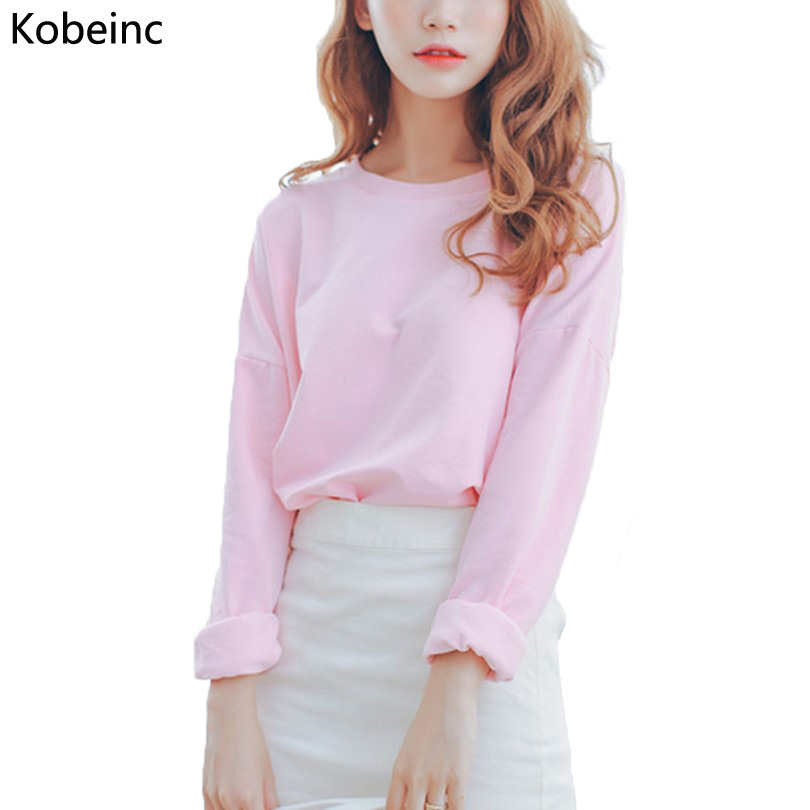 New Candy Colored Sweatshirt Women Autumn Short Paragraph Long Sleeved Hoodies 2017 Fashion Solid Pullovers Sweatshirt