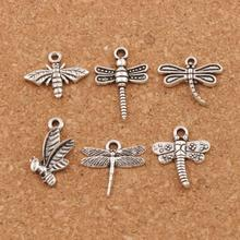 mix Bee Dragonfly insect Charm Beads 48pcs  Antique Silver Pendant LM39 Jewelry DIY Fit Bracelets Necklaces
