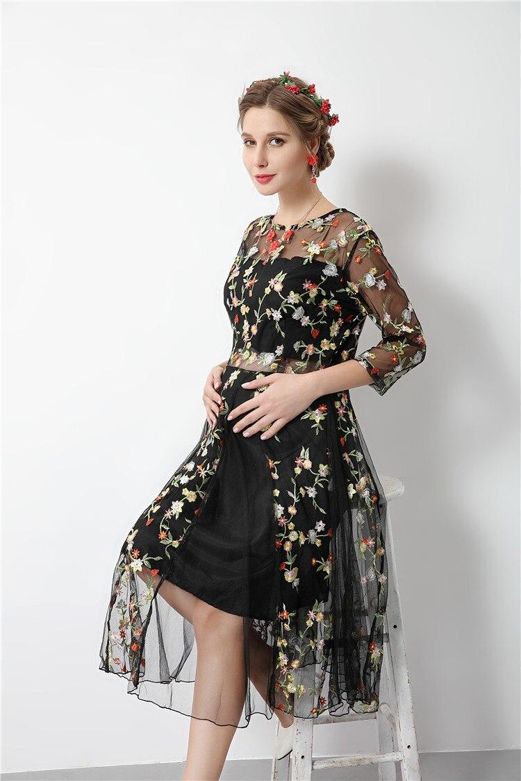 Blumenstickerei schwarz sommer umstandskleid nacht teil kleider für ...