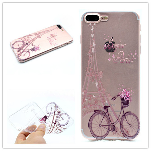 d6641e7605 Transparent TPU Cover For iPhone 7 Plus Case Fashion Tower bike Butterfly  Girl Feather Design Phone Cases For iPhone 8 Plus