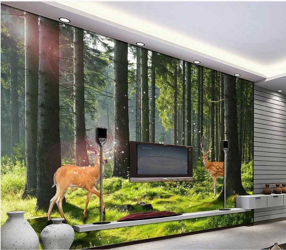 مخصصة 3d غابة الغزلان ديكور المنزل غرفة المعيشة جدار صور ورق الحائط تغطي