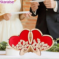 Staraise Personalized Double Heart Signature Wedding Party Guest Book Wedding Decor Guestbook Wedding Custom Customized Gift Box