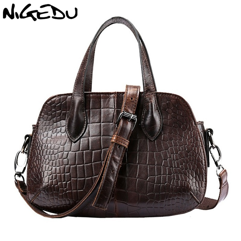 NIGEDU Brand Genuine Leather Women Handbags small Vintage Cowhide Messenger Bags Crocodile Shoulder bag for Women's Totes bolsa pmsix chinese style brand women handbags genuine leather bag printing cowhide women totes national vintage women messenger bags