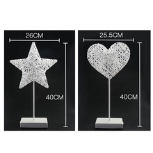 LAIDEYI 40CM Star Heart Shape Grass Rattan Woven LED Night Light Battery Power Girls Bedroom Decorative Table Lamp Kids Gift Toy