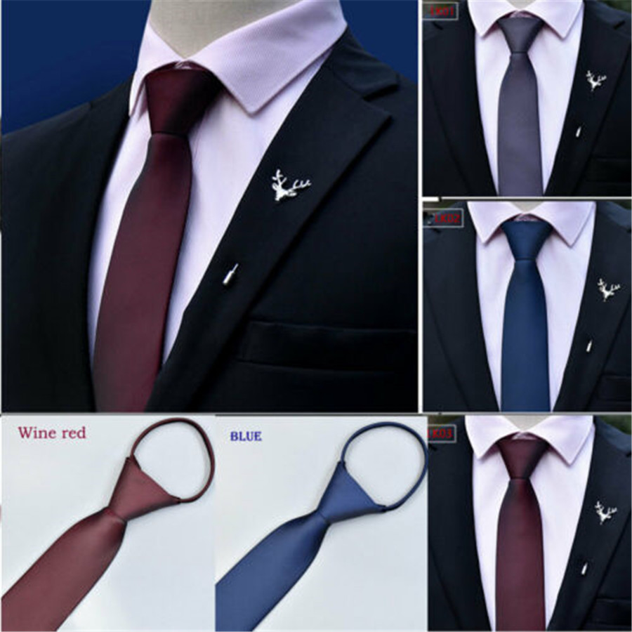 2019 Brand New Style Men Fashion Zipper Tie Wedding Party Formal Business Necktie