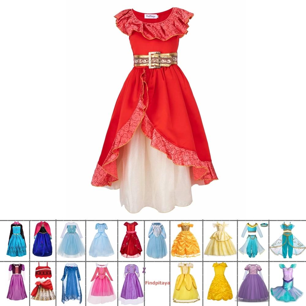 Kids girls cosplay princess aurora elsa rapunzel cinderella ariel  party dress