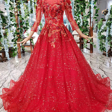 AXJFU Luxury princess lace vintage o neck wedding dress