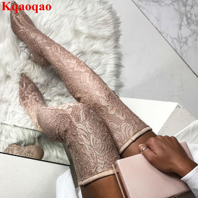 Women Shoes Long Booties Side Zip Lace Flower Pattern Pointed Toe Hot Brand Over Knee Boots Sexy Zapatos Mujer Thigh High Boots jialuowei women sexy fashion shoes lace up knee high thin high heel platform thigh high boots pointed stiletto zip leather boots