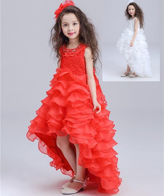2b34c0e10268d Cola chica Vestido Rojo Blanco Niños Trompeta Sirena Ropa Formal Desgaste  Fiesta de Cumpleaños De Princesa