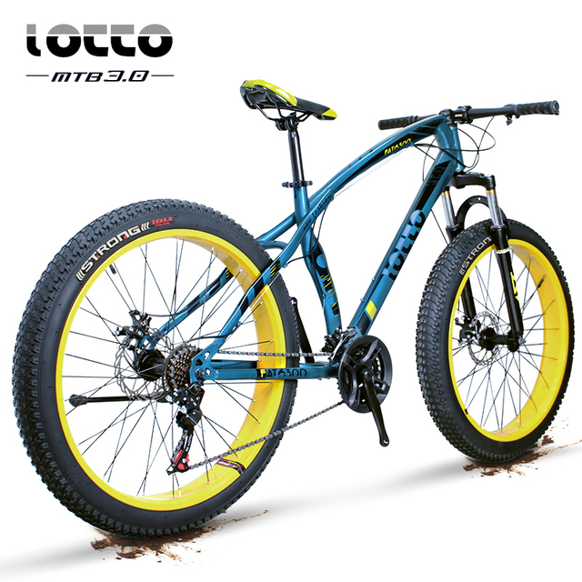 26 Inch Fat Bike Mountain Bike 27 Speed Fat Tire Suspension Fork Double Disc Brakes Snow Bicycle