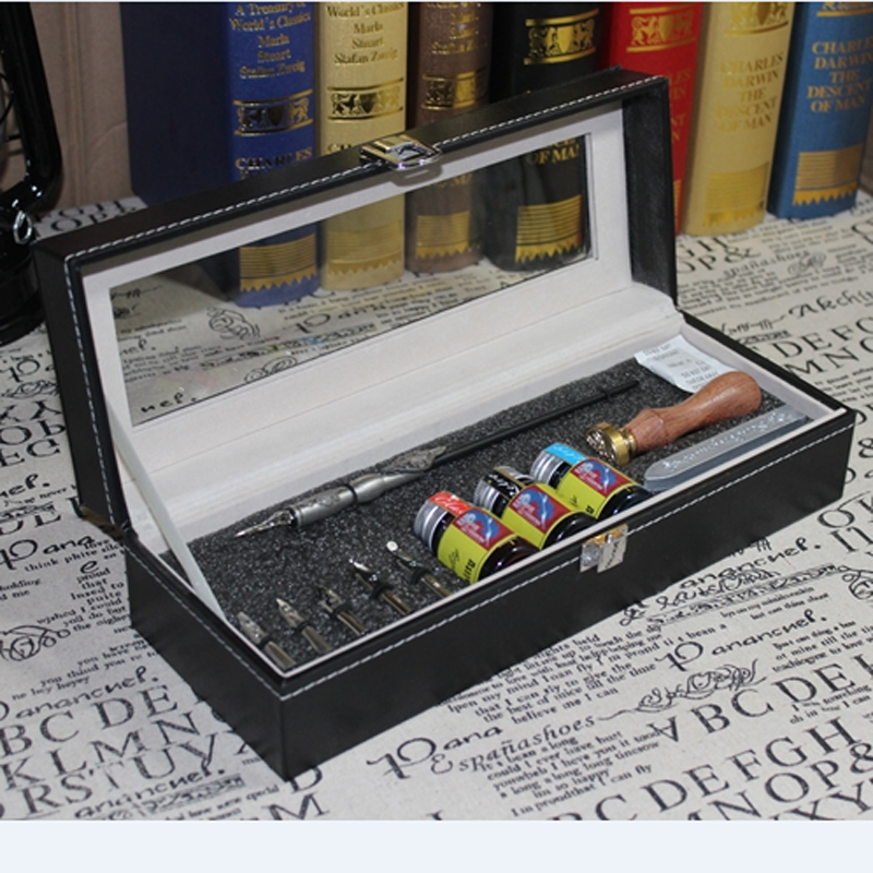 Europe Gothic Calligraphy Dip Pen Set English Copperplate Script Antique Dip Pen with 3 inks 6 nibs 1 Stamp 1 Seal Wax