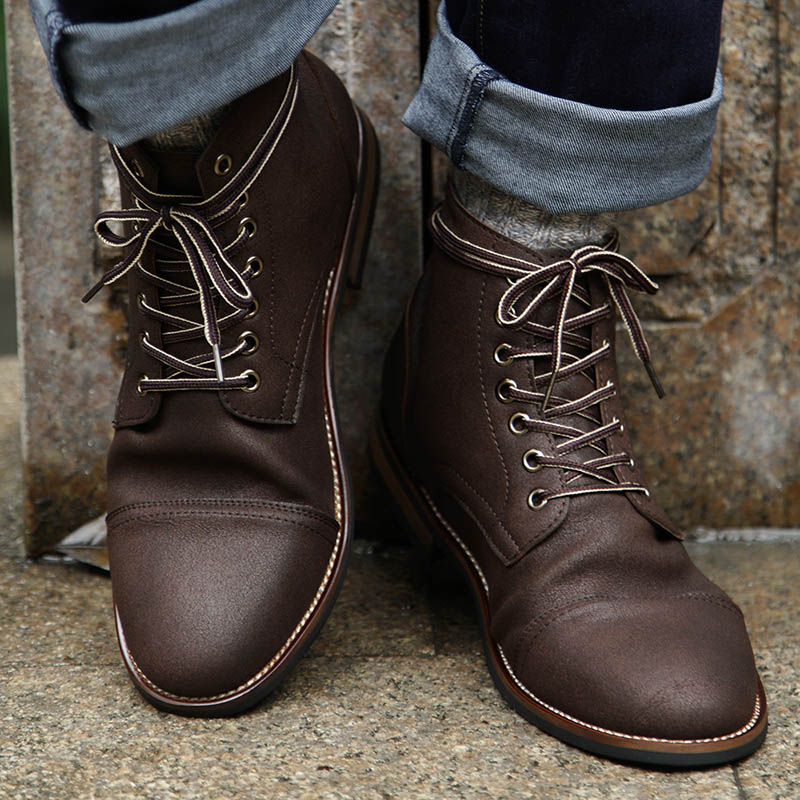 77315da7c152e US $27.99 45% OFF|Masorini Men Pu Leather Lace up Men Shoes High Quality  Men Vintage British Military Boots Autumn Winter Plus Size BRM 060-in Basic  ...