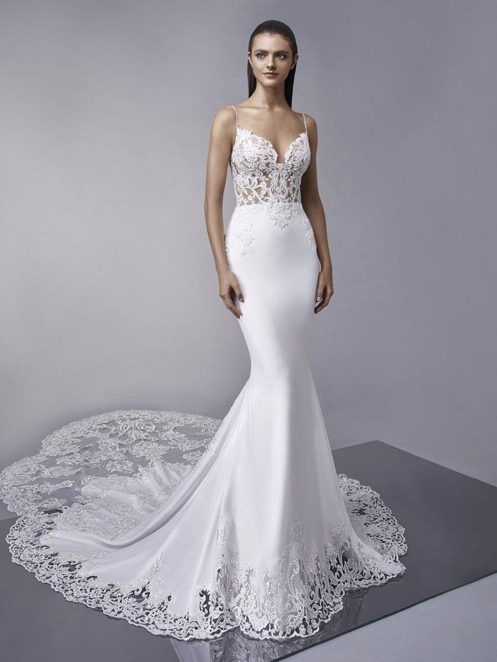 Train Royal Robes De Mariée Sirène Dentelle Appliques Boho Robe De Mariée Dos Nu Sexy robe de mariée 2019