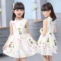 2016 Summer Girls Dress Cartoon Printed Flower Sleeveless Princess Dresses For Girls 2-7 Years Kids Costume Children Clothing