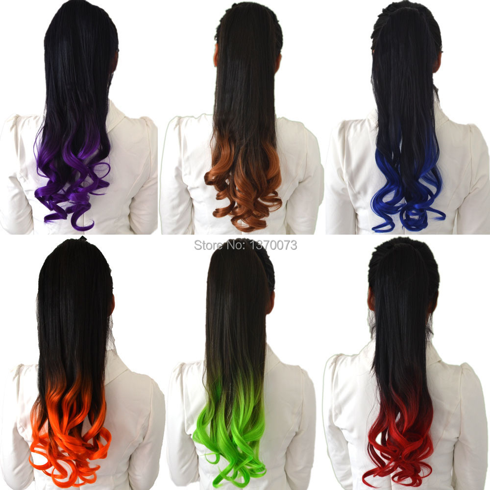 Cheap Ombre Clip In Pony Hair Extension 22 12 Colors Long Wavy