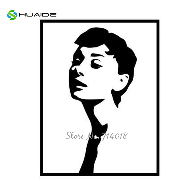 Classic Audrey Hepburn Wall Stickers Nordic Style Murals Fake Frame Vinyl  Wall Decals For Living Room