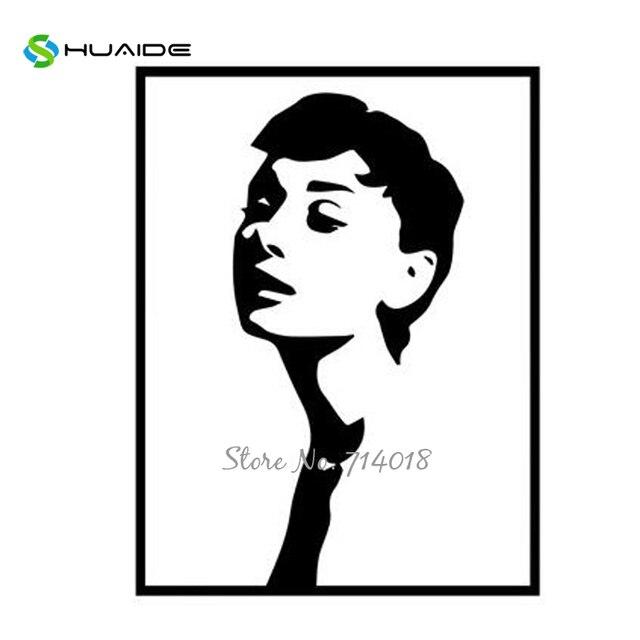 Klassische Audrey Hepburn Wandaufkleber Nordic Stil Wandbilder Gefalschte Rahmen Vinyl Wandtattoos Fur Wohnzimmer Madchen Room Decor
