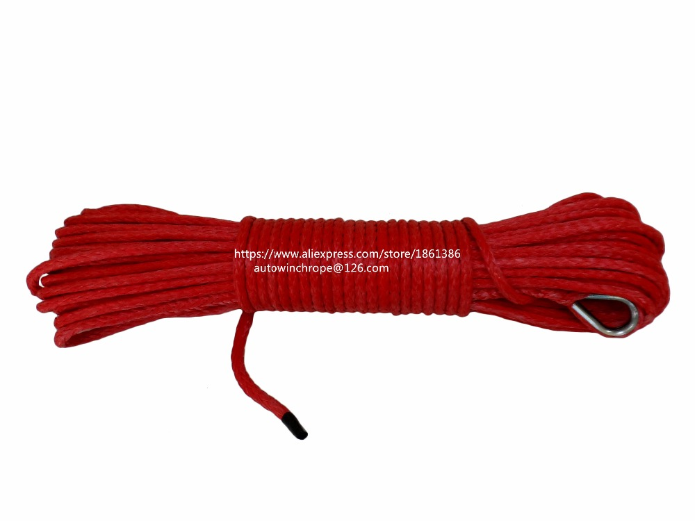 Red 5mm*15m ATV Winch Line, Synthetic Winch Rope,ATV Winch Cable,Off Road Rope 5mm