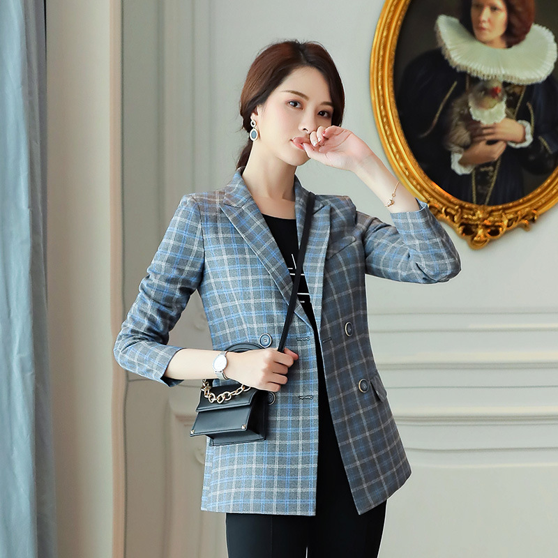 Professional wear woman Plaid suit jacket female Spring autumn new British wind Office lady fashion double-breasted Blazers suit