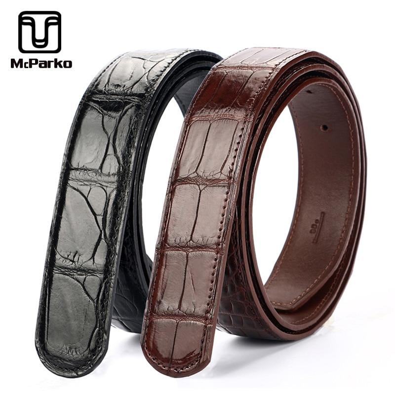 McPARKO mens belt leather genuine crocodile belt men Noble alligator skin waist belt without buckle brown