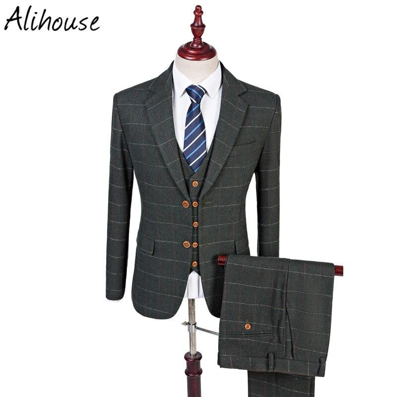 2017 wool green tweed custom made groom tuxedos notch. Black Bedroom Furniture Sets. Home Design Ideas