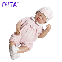 IVITA 22 Inches Silicone Reborn Babies Realistic Metal Skeleton Closed Eyes Lifelike Root Hair bebes reborn de silicone real Toy