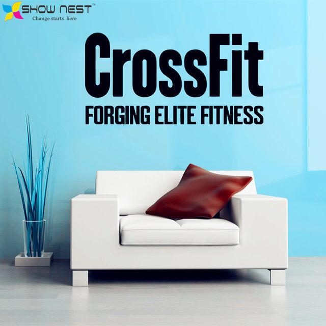 Crossfit Decals Bodybuilding Fitness Center Sport Wall Mural Decor Gym Wallpaper Design Motivation Stickers