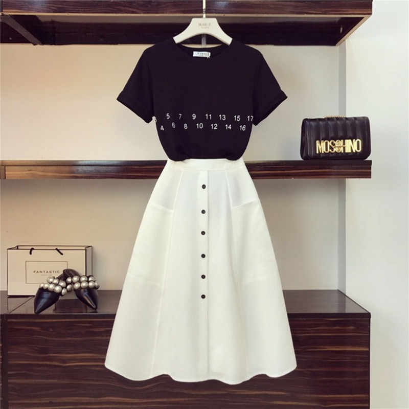 HIGH QUALITY Women Letter T-Shirt+High Waist Button Skirts 2PCS Clothing Set Summer Clothes Suits
