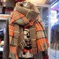 Za mujeres lana caliente del invierno bufanda ocasional de impresión de doble cara bufandas mantón de las bufandas mujeres para mujeres diseño de marca 6 colores