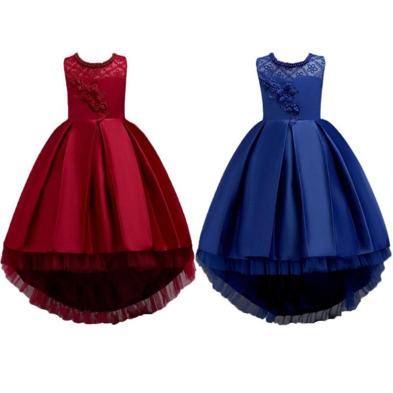 Teenager Girls Dress Lace Sleeveless Birthday Wedding Party Embroidered Flower Long Princess Ball Gown Red Dark Blue Party Dress bheema venetian ball party women s lace flower mask masquerade halloween red