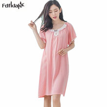 9d1492d048 New arrival women nightgowns cotton fiber night dress casual girls sleepwear  pijama short sleeve summer nightshirt female