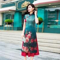2019 New Arrival Spring Print Aodai Vietnam Cheongsam Dress For Women Traditional Clothing ao dai V1383