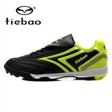 TIEBAO Professional Boys Girls Football Soccer Shoes Black Vision Football Game Trainers TF Soles Sneakers For Kids Teenagers