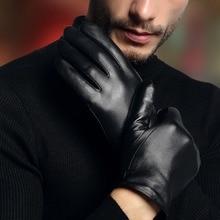 → 2019 натуральная кожа перчатки мужские простые черные перчатки из овчины весна осень тонкий стиль