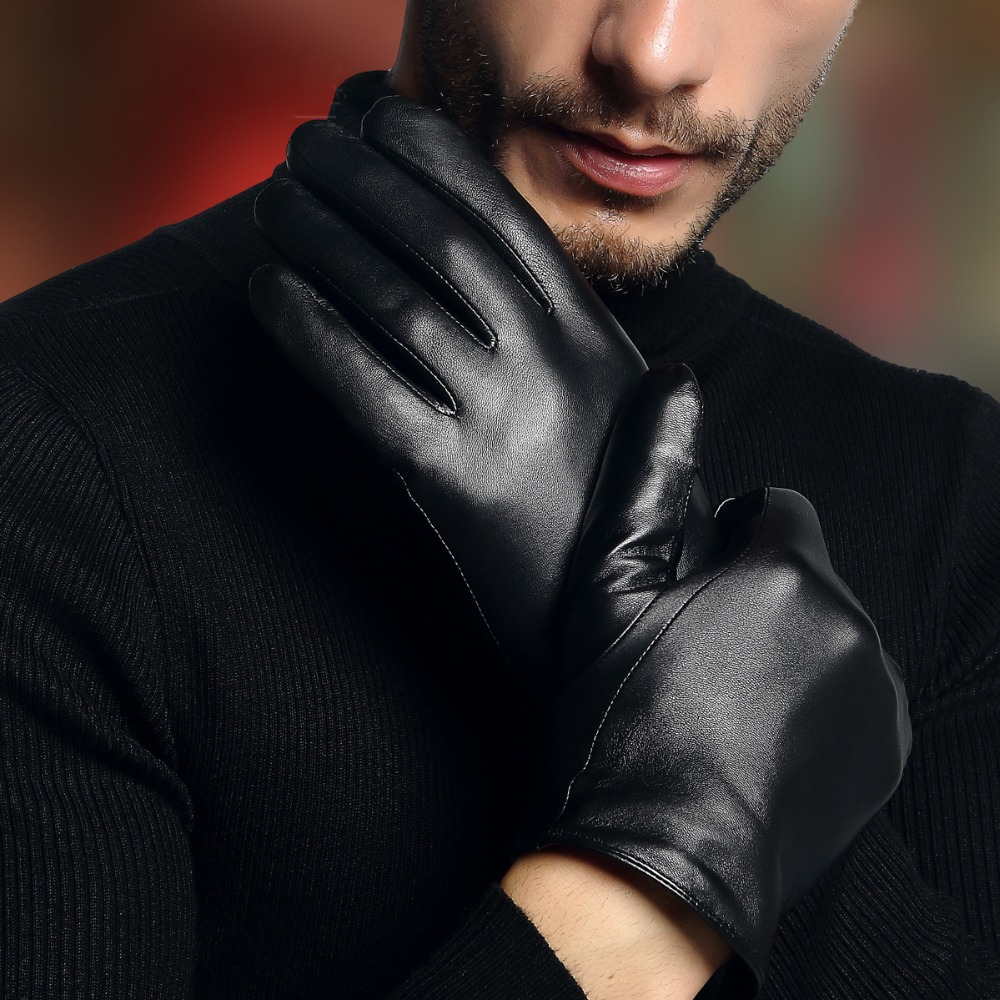 2020 Genuine Leather Gloves Male Simple Black Sheepskin Gloves Spring Autumn Thin Style Driving Glove Touchscreen 2630