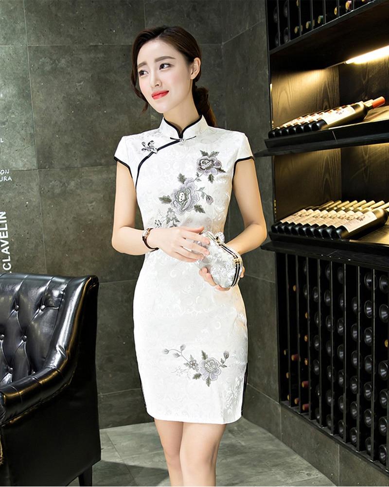 Vintage Schlanke Frauen Cheongsam Kleid Leinen Cheongsams Elegant ...