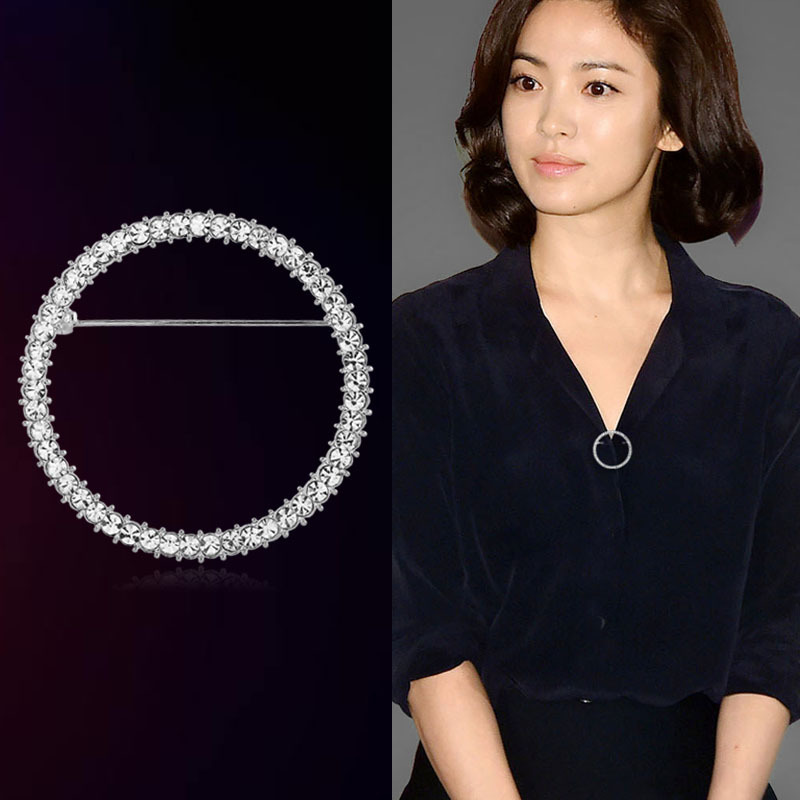Nuevos broches de cristal creativos simples alfileres broche para chaqueta soportes fijos vestido ropa Pin para Mujeres Hombres joyería accesorios regalos